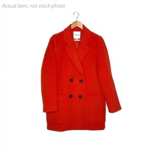 Madewell Hollis Double Breasted Coat Wool Red